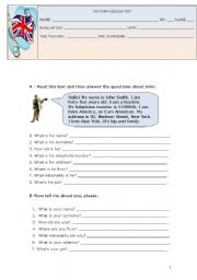 English Worksheet: 5TH FORM ENGLISH TEST