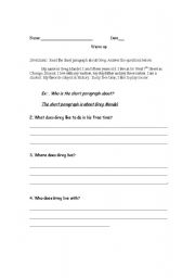 English Worksheets: Comprehension questions