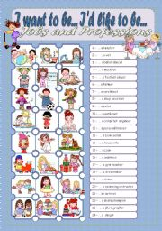 English Worksheets: I want to be... I�d like to be - WS 2 Jobs and Professions Pictionary