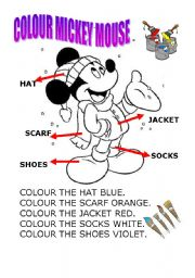 English Worksheet: colour mickey mouse