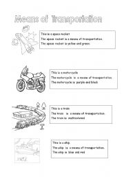 English Worksheets: MEANS OF TRASPORTATION