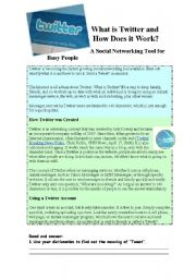 English Worksheet: What is Twitter and how does it work?Part 1