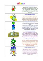 English Worksheets: Aliens - Reading exercise