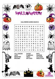 English worksheet Halloween activities
