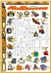 English Worksheet: HALLOWEEN -CROSSWORD (KEY AND B&W VERSION INCLUDED)