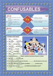 English Worksheets: CONFUSABLES: ALLOW - LET - MAKE - FORCE