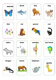 English Worksheets: cards animals set 1