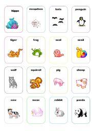 English Worksheet: cards animals set 2