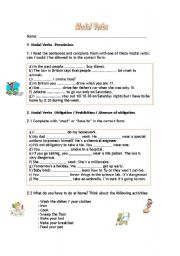 English Worksheet: Modal Verbs to express permission and obligation.