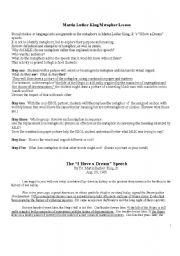 English Worksheet: Metaphors in Martin Luther King, Jr.�s