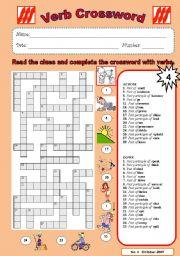 English Worksheets: Verb crossword 4