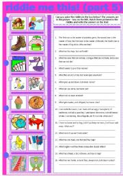 English Worksheet: RIDDLE ME THIS! (PART 5)