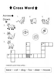 English Worksheets: animal cross word