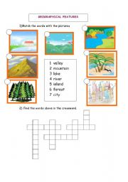 English Worksheets: GEOGRAPHICAL FEATURES / MATCHING&CROSSWORD
