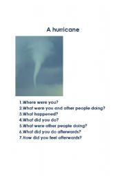 English Worksheets: A hurricane