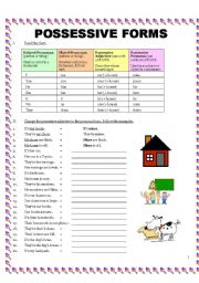 worksheet: Possessive Forms: 4 Pages