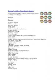 English worksheet: Emotion Vocabulary