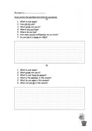 English Worksheets: writing about you