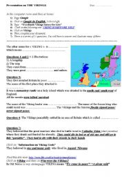 English Worksheet: web quest on the vikings