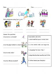 English worksheet: Can-Can´t with daily activities