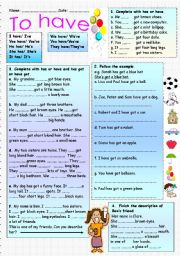 English Worksheet: TO HAVE-AFFIRMATIVE FORMS