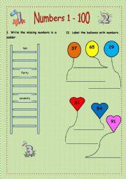 English worksheet: Numbers (1-100)