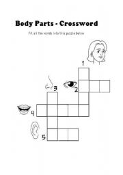 English Worksheets: BODY PARTS CROSSWORD