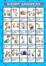 English Worksheet: SHORT ANSWERS
