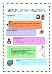 English Worksheets: SPEAKIG OR WRITING ACTIVITY