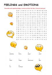FEELINGS and EMOTIONS WORDSEARCH