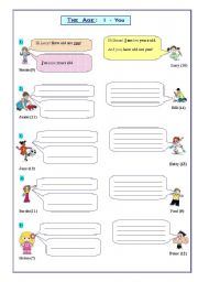 English Worksheet: The age: Dialogues; yes/no questions (I-You)