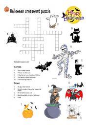 English Worksheet Halloween Crossword Puzzle