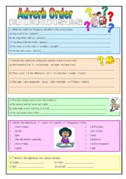 English Worksheet: Adverb Order