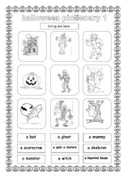 English Worksheet: HALLOWEEN PICTIONARY 1/3