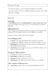 English Worksheets: Aeroplane Task
