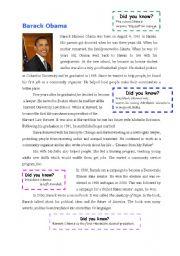 barack obama - reading comprehension - past simple tense ...
