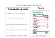 Analyzing food labels lesson plan
