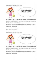 English Worksheets: What is English? What is not?