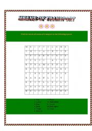 English Worksheet: Means of transport- word search