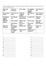 English Worksheets: relate the questions