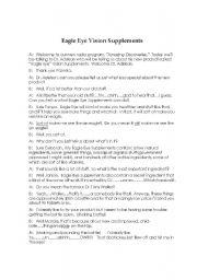English worksheets: Eagle Eye Vision Supplements