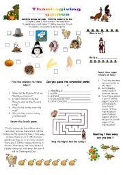 English Worksheet: thanksgiving games