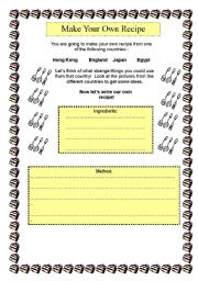 Vocabulary worksheets > Food > Recipes > Make Your Own (Crazy) Recipe