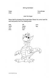 English Worksheets: Label the Dragon