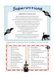 English Worksheet: Superstitions