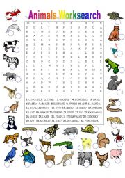 English Worksheets: Animals Worksearch