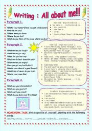 English Worksheet: Writing : A profile of yourself - All About me!