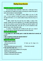 English Worksheets: Two reading COMPREHENSION  passages