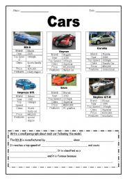 English Worksheets: Profiles of Cars