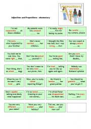English Worksheet: Adjectives and prepositions (elementary) - cards with solution on the back